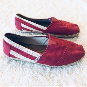 TOMS Red Stripe University Slip Ons Men's Size 8